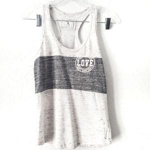 Reflex White & Gray Love Colorblock Racerback Tank